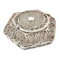 Victorian Era Italian 800 Silver Filagree Trinket Box