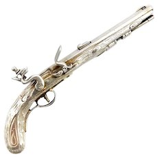 William de Matteo Sterling Silver Kentucky Miniature Pistol Replica