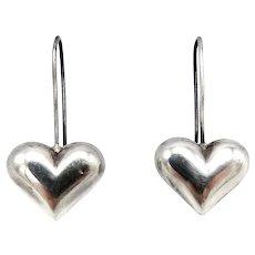 Vintage Sterling Silver Puffy Heart Earrings