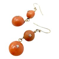 Victorian 18K Gold French Coral Ball Dangle Earrings