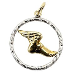 Signature 14K Gold Encircled Hermes Winged Foot Charm