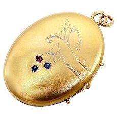14K Gold Imperial Russian Locket w/ Rubies & Sapphires