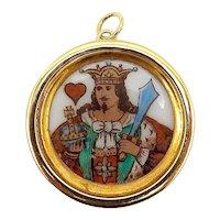 14K Gold Victorian Era King of Hearts Whist Marker Pendant