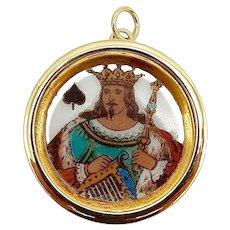 14K Gold Victorian Era King of Spades Whist Marker Pendant