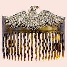 Edwardian Paste Set Bird Hair Comb