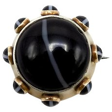 Victorian Scottish Banded Agate Brooch