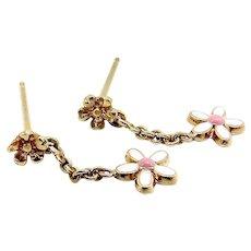 14K Gold Enameled Flower Dangle Earrings