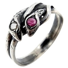 Victorian Revival Sterling Silver Ruby & Diamond Snake Ring