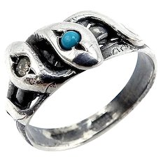 Victorian Revival Sterling Silver Snake Ring w/ Diamond & Turquoise