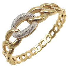 14K Gold Graduated Curb Link Bangle Bracelet with Diamonds