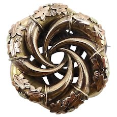 Victorian Gold Filled & Gold Topped Spiral Brooch