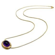 18K Gold Vintage Amethyst & Diamond Snake Chain Necklace