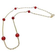 14K Garnet Rope Station Chain Necklace