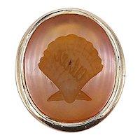 Victorian 12K Gold Carnelian Shell Intaglio Watch Fob-Pendant