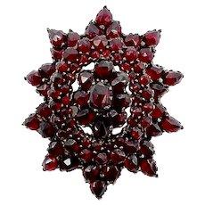 Victorian Star-Shaped Bohemian Rose Cut Garnet Pendant-Brooch