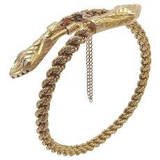 18K Gold Double Headed Vintage Snake Bracelet
