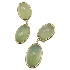 18K Gold Green Moonstone Cabochon Dangle Earring