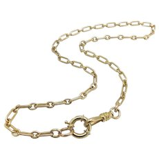 14K Victorian Watch Chain-Necklace with Dog-Clip Clasp