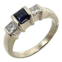 Vintage 14K White Gold, Sapphire & Diamond Three Stone Ring