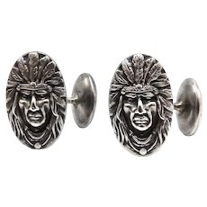 Unger Brothers Indian Chief Sterling Silver Cufflinks