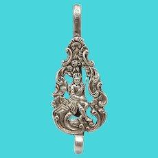 Figural Dutch 800 Silver Chatelaine Clip
