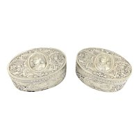 Victorian Matched Pair of Hanau Oval Silver Boxes Depicting Gentlemen