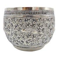 Intricate Burmese Sterling Silver Repoussé Zodiac Bowl