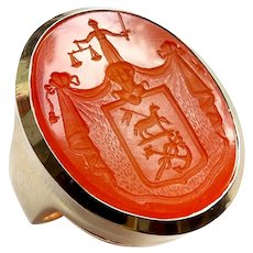 14k Gold Carnelian Intaglio Signet Ring with Scale of Justice