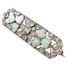 Edwardian Platinum Diamond & Opal Brooch or Pendant