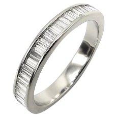 Vintage Platinum Half Eternity Ring with Baguette Diamonds