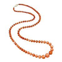 Victorian Graduated Coral Necklace With 14K Gold Clasp