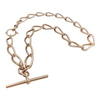 Victorian 9K Gold Watch Chain Necklace with T-bar