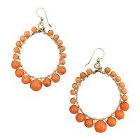 14K Retro Coral Colored Glass Hoop Earrings