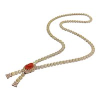 Victorian 12K Gold Chain & Carved Coral Cameo Necklace