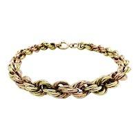 Victorian 14K Rose & Yellow Gold Oversized Rope Link Bracelet