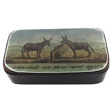 """When Shall We Three Meet Again?"" Victorian Donkey Snuff Box"