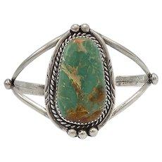Vintage Green Turquoise Sterling Silver Bracelet