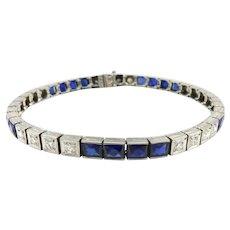 18K White Gold Diamond and Sapphire Art Deco Line Bracelet