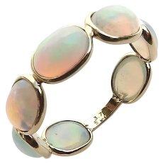 18K Gold Ethiopian Opal Eternity Band Size 6.5