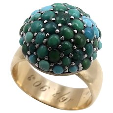 Victorian Domed Pave Turquoise 14K Gold Ring