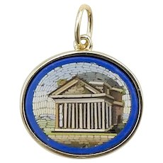 Victorian Grand Tour Micro Mosaic of Pantheon Pendant with 14K Gold Bezel