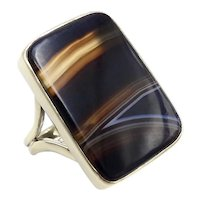 14K Gold Victorian Banded Agate Ring