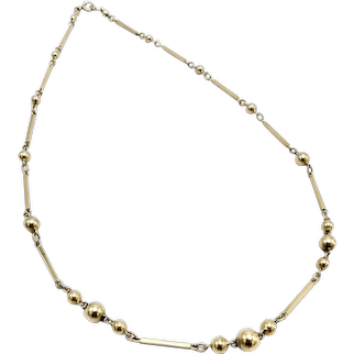 Vintage 14K Gold Bar and Ball Necklace