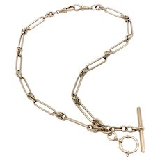 9K Rose Gold Trombone and Fettered Link Watch Fob Chain / Necklace