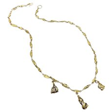 Victorian 22K and 14K Gold Rush Era Nugget Necklace
