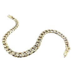 Vintage 18K Gold Graduated Curb Link Bracelet with Diamonds