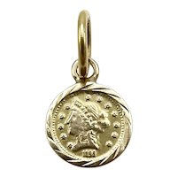 22K Gold Modern Flower Jewelry Prize Miniature Coin Pendant