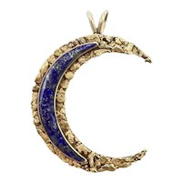22K and 14K Gold Nugget Crescent Moon Pendant