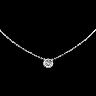14K White Gold Bezel Set Diamond Solitaire Necklace