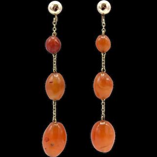 Victorian 14K Gold Carnelian Drop Earrings